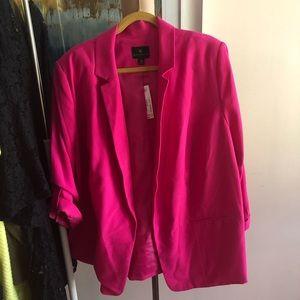 Hot pink blazer.